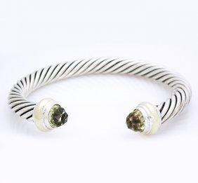 David Yurman,14k Yellow Gold Silver Cable Bracelet