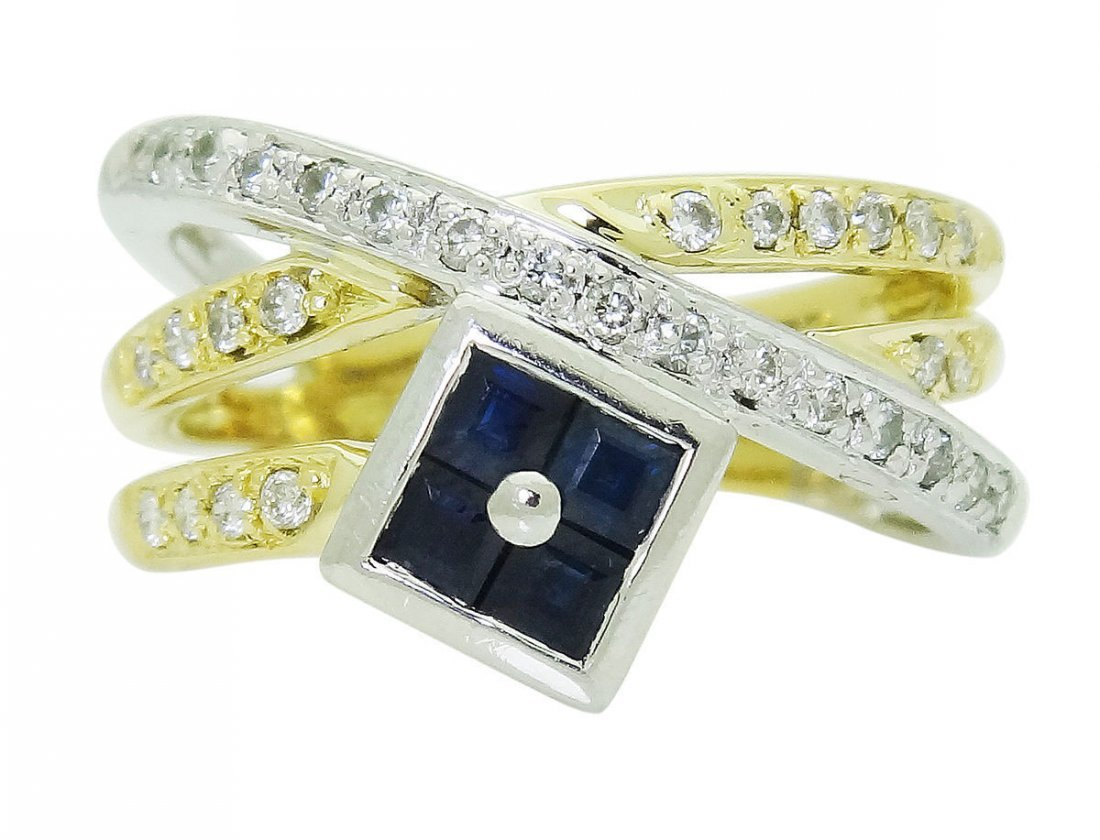 18k Multi Tone Gold Platinum Diamond & Blue Sapphire