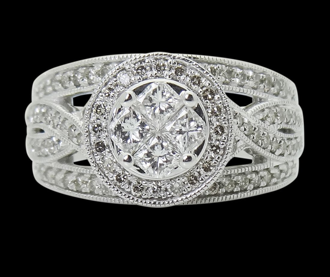 14k White Gold Over 1.00 TCW Princess & Round Cut