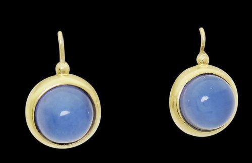 14k Yellow Gold Cabochon Moonstone Drop Dangle Earrings