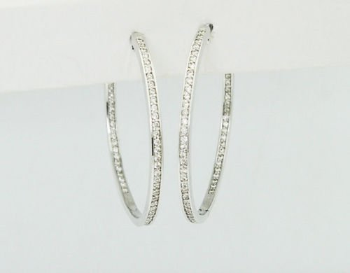 18k White Gold 1.00 Carat VS G Diamond Hoop Earrings
