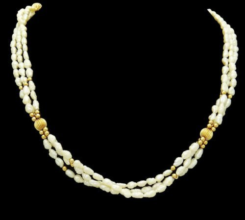 14k Yellow Gold & Pearl Necklace 30 Inches Long