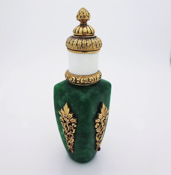 Russian Silver Jade Perfume Bottle - 2