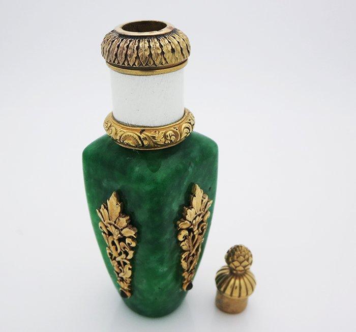 Russian Silver Jade Perfume Bottle - 5