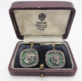 Russian Gold Silver Guiloche Diamond Cufflinks