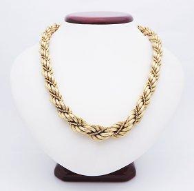 Vintage 18k Yellow Gold Rare Design Necklace