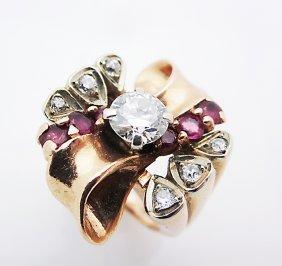 Beautiful 14k Yellow Gold Ring W/ Diamonds & Rubies