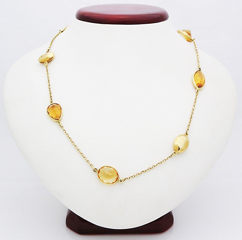 18K yellow gold necklace with natural citrine