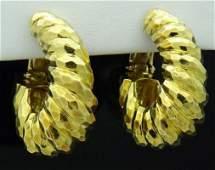 Estate Tiffany & Co 18k Yellow Gold Hoop Earrings