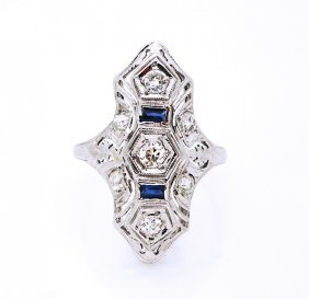 14k Gold Art Deco Ring Diamonds & 2 Sapphires .