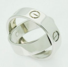 Cartier 18k White Gold Love Ring Pendant Combination