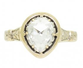 Antique Edwardian 14k Gold 1ct Rose Cut Diamond