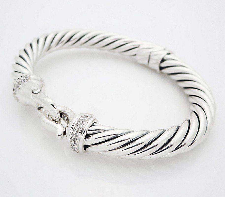 David Yurman Silver Pave Diamond Cable Buckle Bracelet