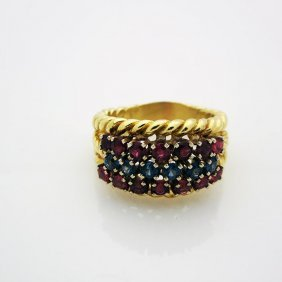 Hammerman Brothers 18k Yellow Gold Ruby & Diamond Ring