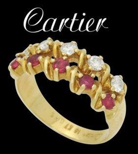 Estate Cartier 18k 0.40 Cts Tcw Diamond & Ruby 2 Row