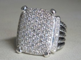 David Yurman Silver Wheaton 20x16 Pave Diamond Ring