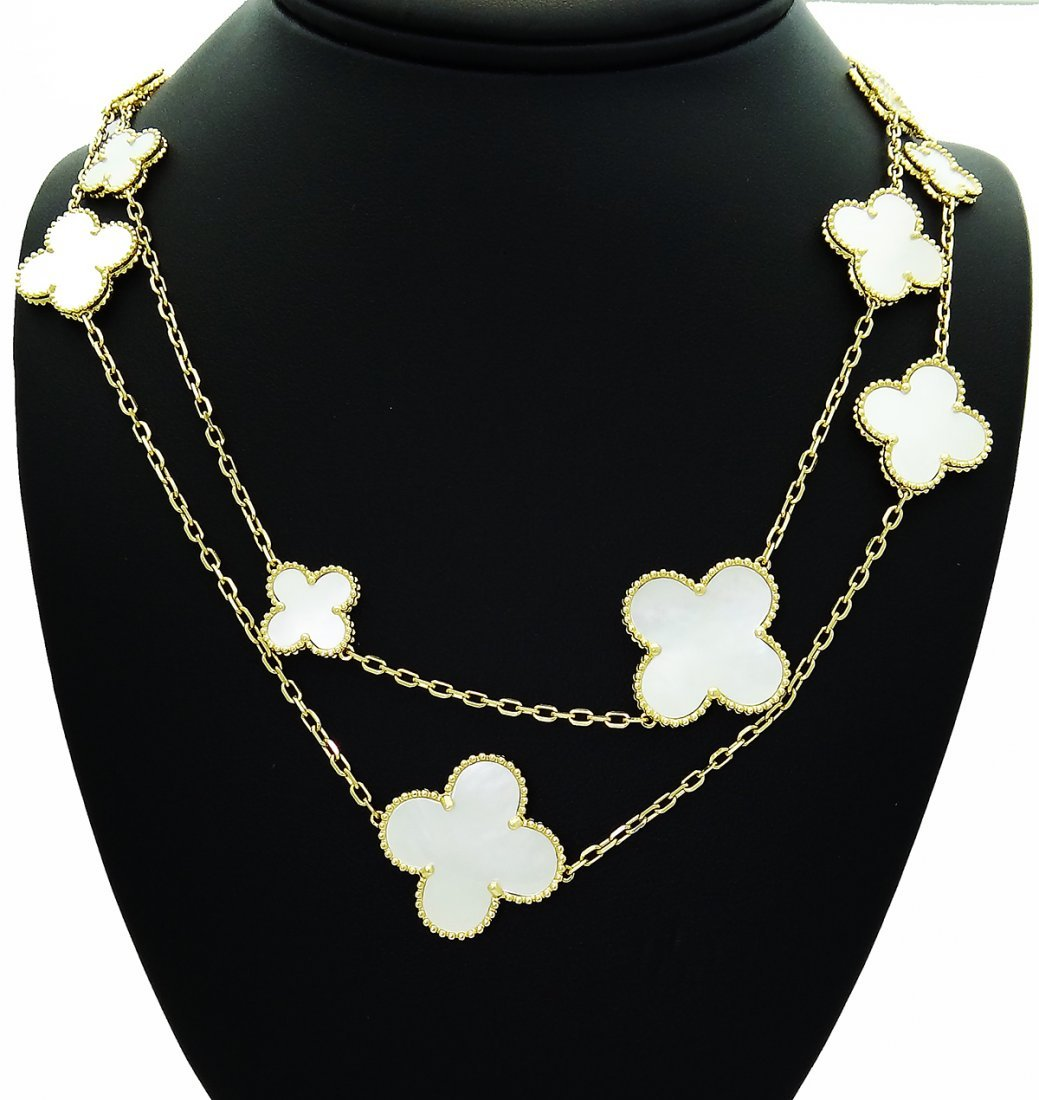 Van Cleef & Arpels 18k Alhambra Mother Pearl Necklace