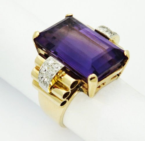 Estate 18.00 Carat Purple Amethyst & Diamond 14k Yellow