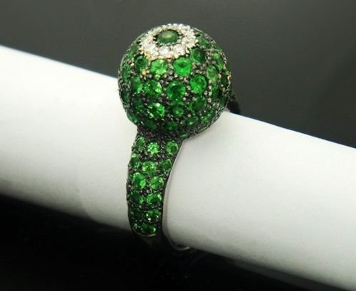 18k White Gold & Over 5.00ct Tsavorite Garnet and