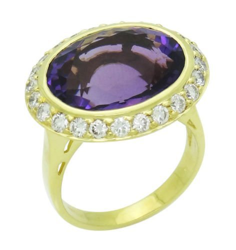 Spark 18k Yellow Gold Large Faceted Amethyst 1.00 Ct