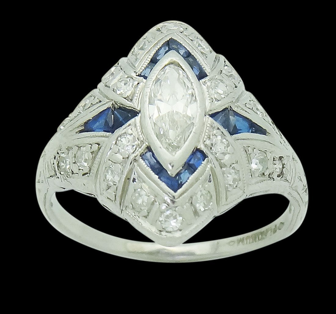 Antique Platinum 1.50 TCW VS H Diamond & Blue Sapphire