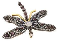 Estate 18k Gold Silver 3.00 CT Ruby Diamond Dragonfly