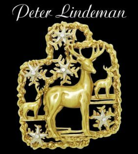Peter Lindeman Xmas 1972 18k Gold & Diamond Pin