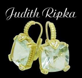 Judith Ripka Lola 18k & Green Amethyst Pave Earrings