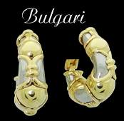 Bulgari 18k Two Tone Gold Hoop Earrings Omega Backs 30
