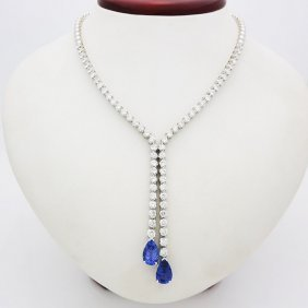 18k White Gold Necklace With Over 10ct Diamond Tanzanit