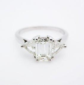Platinum Emerald Cut And Triangle Diamond Ring