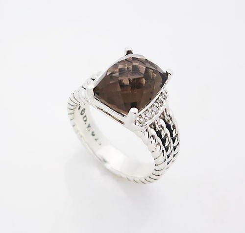 David Yurman Petite Wheaton Ring Smokey Quartz Diamond