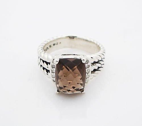 David Yurman Petite Wheaton Ring Smokey Quartz Diamond - 3