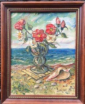 David Burliuk Russian -- American Oil Painting On Board