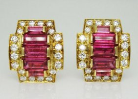 G. Petochi 18k Gold Clip Earrings Over 4.20tcw Diamond