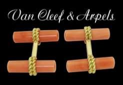 Rare Van Cleef & Arpels 18k Yellow Gold Coral Cufflinks