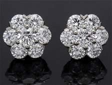 Van Cleef & Arpels 18k Fleurette 1.88 TCW Diamond Studs