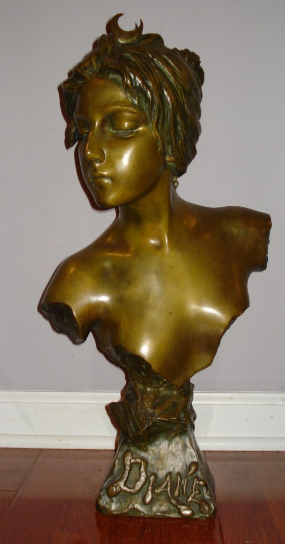 Bust  Diana Bronzed patinated spelter  sign E. Villans