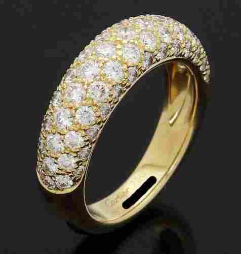 Cartier 18k Yellow Gold Diamond Wedding Band Ring With
