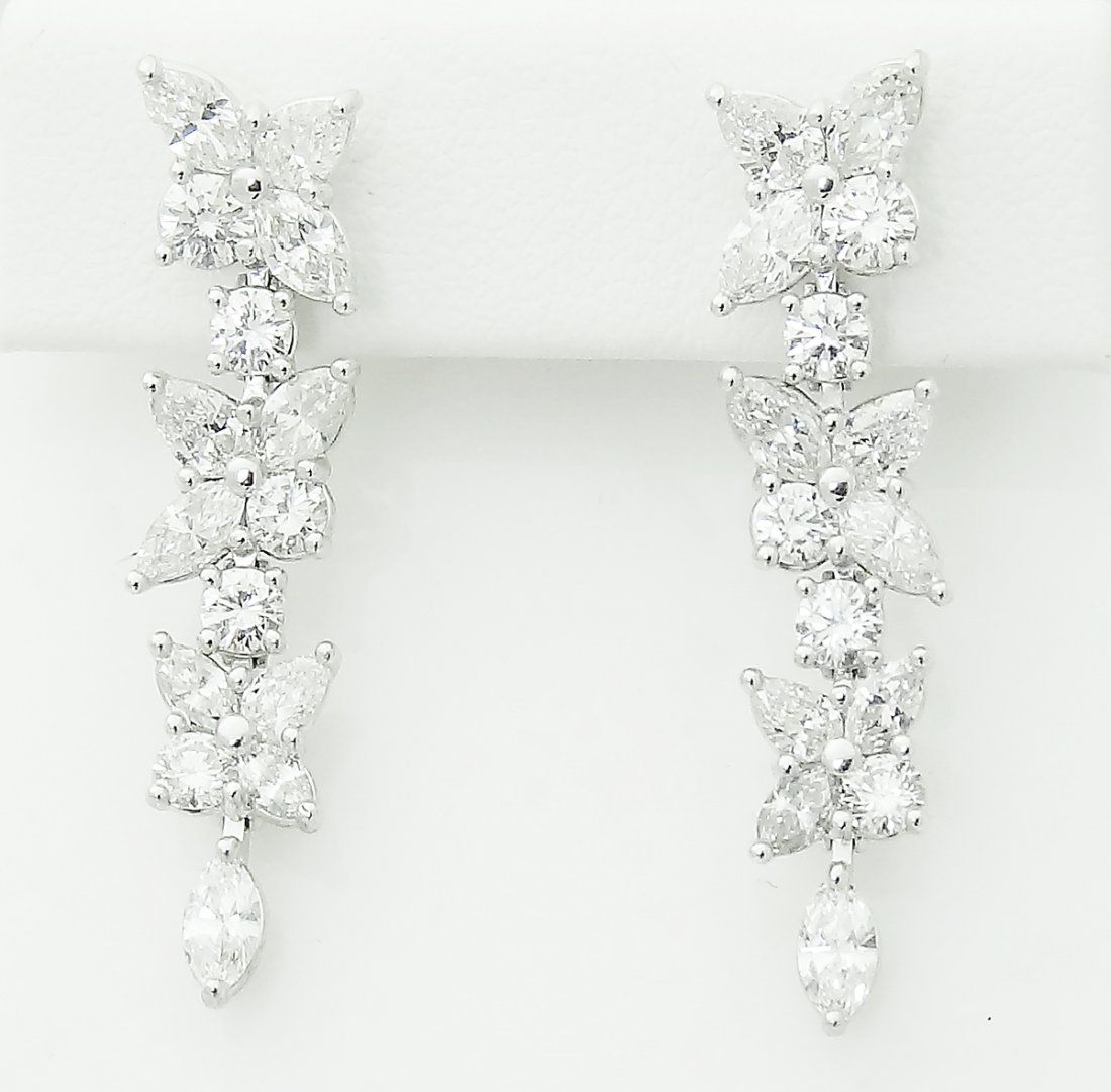 Tiffany & Co Victoria Platinum Diamond Drop Earrings