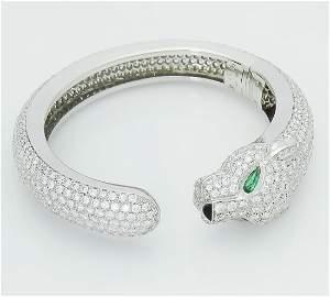 CARTIER - Diamond, Emerald, and Onyx 'Panthére Bracelet