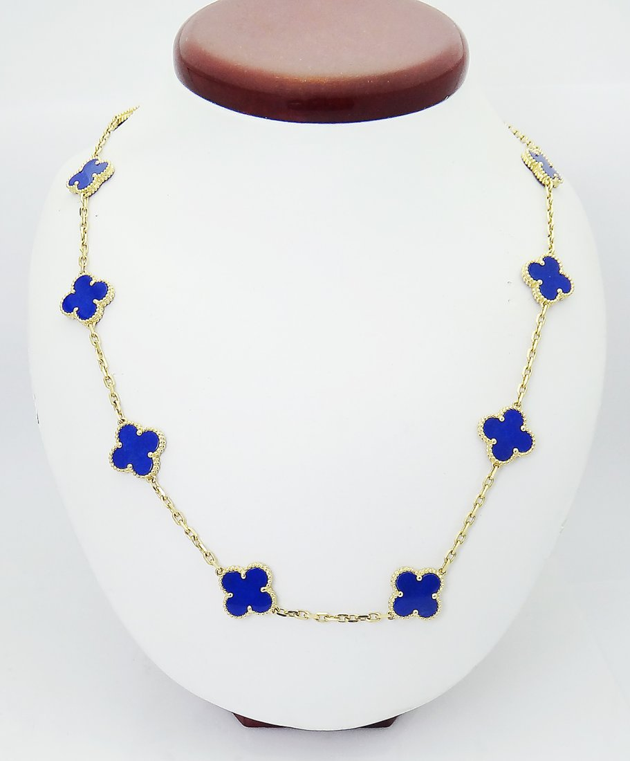 Van Cleef  Arpels 18k  20 Motif Alhambra Lapis Necklace