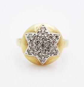 14K Yellow Gold Vintage Star of David w/ Diamonds Ring