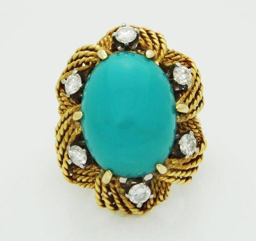18k Yellow Gold 0.80CT VS F Diamond & Turquoise Ring
