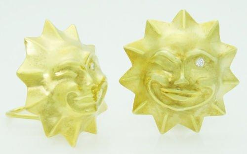 18k & 14k Yellow Gold & 0.10 ct Diamond 3D Winking Sun