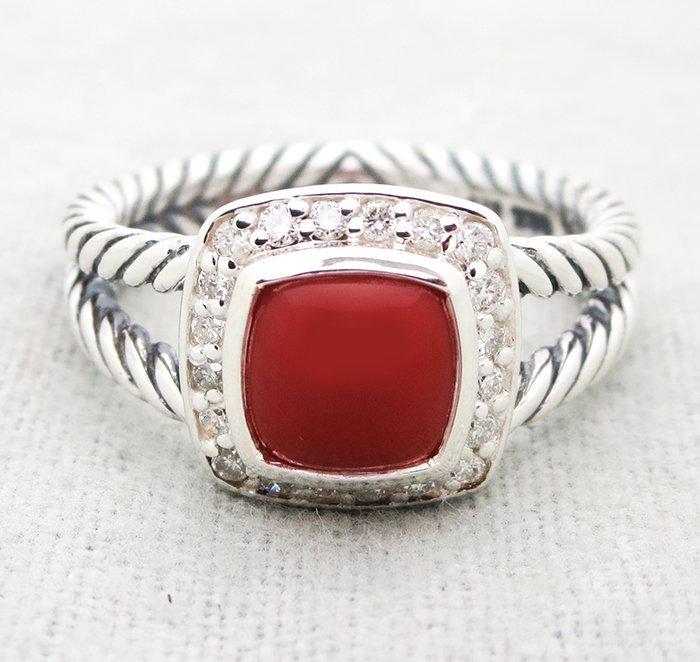 David Yurman Petite Albion Ring with Carnelian and