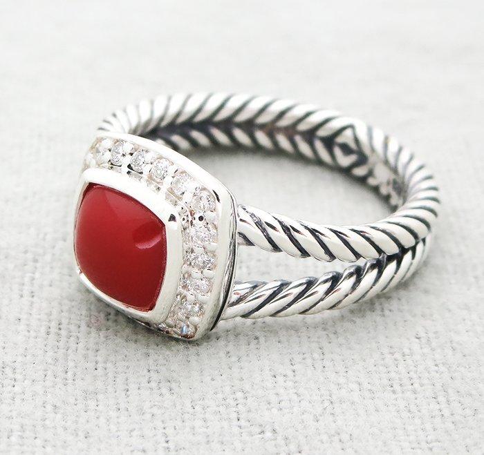 David Yurman Petite Albion Ring with Carnelian and - 2