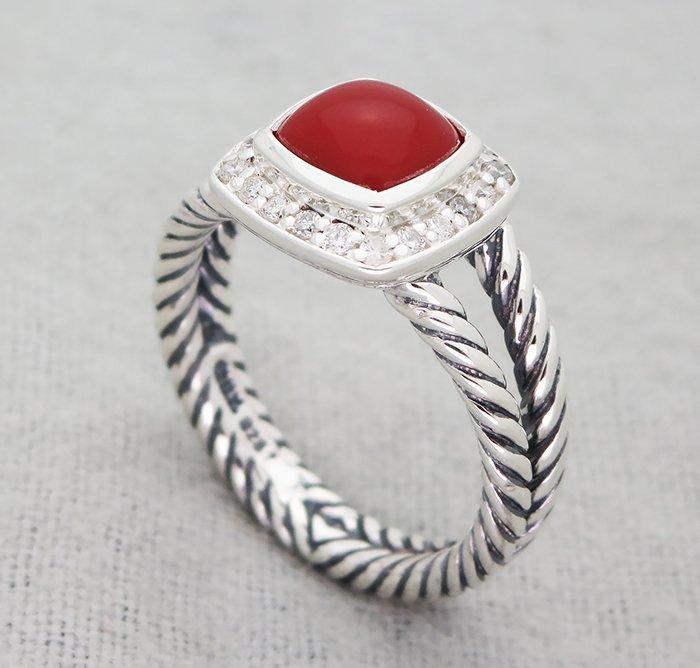 David Yurman Petite Albion Ring with Carnelian and - 3