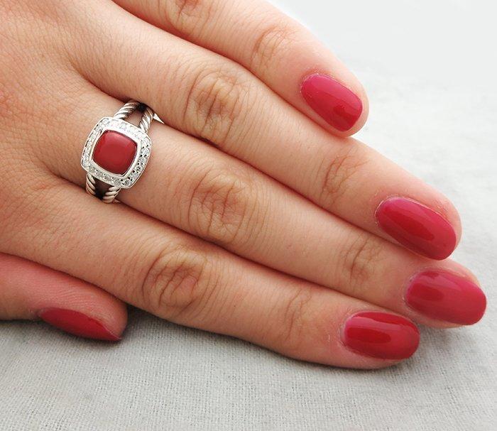 David Yurman Petite Albion Ring with Carnelian and - 5