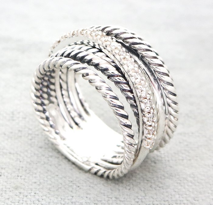 David Yurmand Sterling Silver Crossover Wide Ring with - 2